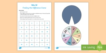 Find the Difference Three in a Row Game - subtraction, year 2, strategy, difference, reasoning, taking away, subtract, play, activity, spinner
