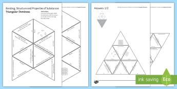Bonding, Structure and Properties of Substances Tarsia Triangular Dominoes - Tarsia, gcse, chemistry, bonding, structure, properties, covalent, ionic, lattice, giant structure, plenary activity