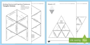 Bonding, Structure and Properties of Substances Tarsia Triangular Dominoes - Tarsia, gcse, chemistry, bonding, structure, properties, covalent, ionic, lattice, giant structure, plenary activity