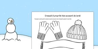 Creează-ți propriile accesorii de iarna - Fișă de lucru