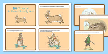 Beatrix Potter - The Story of a Fierce Bad Rabbit Story Cards - beatrix potter, fierce, bad, rabbit