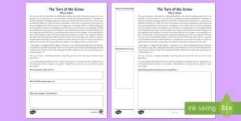 'The Turn of the Screw' Opening Differentiated Comprehension Activity Sheet - worksheet Gothic, Henry James, The Turn of the Screw, ghost stories, comprehension, nineteenth centu