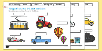 Transport Scene Labelling Cut and Stick Worksheet - transport