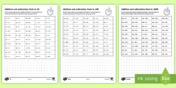Addition-and-Subtraction Facts to 50 100 1000 Question Speed Test Worksheet / Activity Sheet - Addition and Subtraction Facts to 20: 50 Question Speed Test - addition, subtraction, facts, 20, que