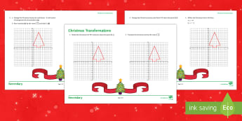 Christmas Transformations Activity Sheet - Maths, Christmas, transformations, co-ordinates, worksheet, coordinates, Reflection, rotation, enlar