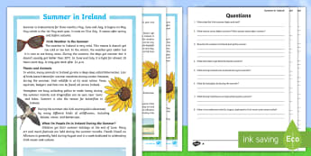 Summer in Ireland Differentiated Reading Comprehension Activity -  summer, ireland, swallow, badger, fox, weather, sunny, beach