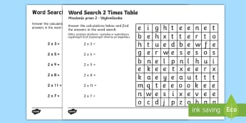 Multiplication 2 Times Table Word Search Activity English/Polish - Multiplication 2 Times Tables Wordsearch Worksheet - multipilication, 2 times tables, times tables,