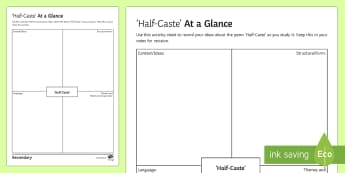 'Half-Caste' by John Agard at a Glance Activity Sheet  - Half-Caste, JOhn Agard, GCSE poetry, poetry revision, poetry anthology, at a glance