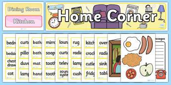 Home Corner Role Play Pack - aistear, home corner, home, role play, roleplay, houses and homes, house, home, bathroom,brick, stone, detached, terraced, bathroom, kitchen, door, caravan, where we live, ourselves