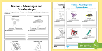 Friction Advantages and Disadvantages Worksheet / Activity Sheet - ACSSU076, forces,Australia, worksheet