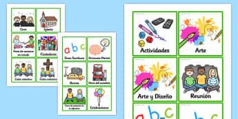 KS2 Visual Timetable Spanish - spanish, KS2, key stage two, key stage 2, visual timetable, visual aid, visual cards, word cards, flash cards, words, key words, keywords
