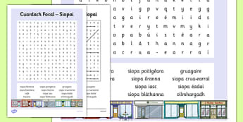 Shopping Word Search Gaeilge - Siopaí, irish, shopping, town, transport, siopadóireacht,grocery store,trasnport, trasport, wordseaches, wordserach, wordserch, wordearch