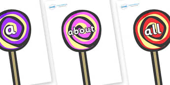 100 High Frequency Words on Lollipops to Support Teaching on The Very Hungry Caterpillar - High frequency words, hfw, DfES Letters and Sounds, Letters and Sounds, display words