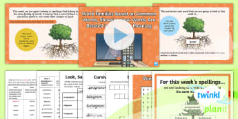 PlanIt Spelling Year 6 Term 3A W1: Word Families Based on Common Words Spelling Pack - Spellings Year 6, Y6, spelling, spell, y6, Year 6, spag, gps, word family, gram, root word