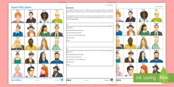 Guess the Person German Board Game - German, Physical Descriptions, KS3, Ks4, Speaking Practice,German
