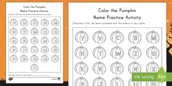 Color the Pumpkin Name Practice Activity Sheet - Name Practice, Handwriting, ELA, Pumpkins, Halloween, worksheet