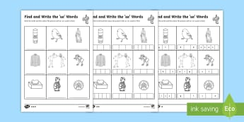 Find and Write the ue Words Differentiated Activity Sheets  - Phonics activity, phase 5, letters and sounds, ue sound, find the sound, sort the pictures, write th