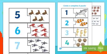 Il puzzle dei numeri in fondo al mare Attività  - contare, numeri, colori, squalo, polpo, mare, estate, italiano, italian, matematica, materiale, scol