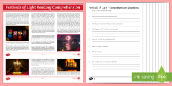 Festivals of Light Differentiated Reading Comprehension Activity
