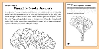 Alberta's Wildfire Smoke Jumper Colouring Page - canada, Alberta, wildfire, fire, natural disaster, communication, speaking, discussion