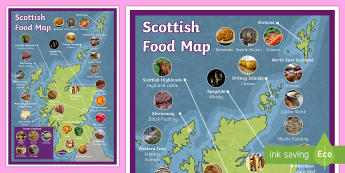 Scottish Food map Display Poster - Scottish Food Map - scottish, food, maps, foods, britain, maps,Scotland, scottish food, scottish tra