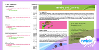 Twinkl Move - Year 2 Throwing and Catching - Unit Overview - Move, throwing and catching, pE, Move, skills, ball, quoits, ks1