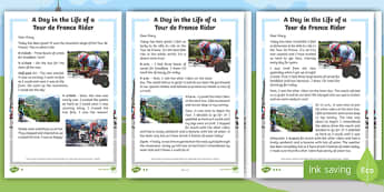 KS1 A Day in the Life of a Tour de France Rider  Differentiated Fact File - cycling, sport, year one, year two, english, literacy