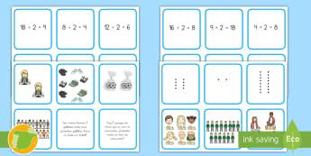 Juego de cartas multiplicación y división - multiplicación división, multiplicar, dividir, mitad, doble, Matemáticas, operaciones,Spanish