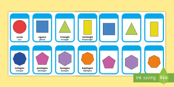 2D Shape Flashcards English/Romanian - Shape Pictures, Shape Words, geometry, EAL