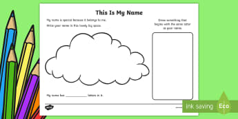 EYFS This is My Name Activity Sheet - back to school, all about me, first week back, activities, names, worksheet