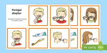 Periajul dinților - Cartonașe - cartonașe, periatul dinților, spălatul pe dinți, igiena orală, igienă, română, materiale, jo