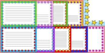 Mixed Colours Star Page Borders Landscape - page borders, mixed, colours