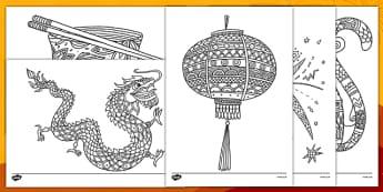 أوراق التلوين التي تساعد على التركيز بموضوع رأس السنة الصينية - تلوين، نشاط، رأس السنة الصينية، تركيز، بداية الدرس، أو