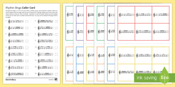 Minims, Crotchets, Quavers and Semiquavers Bingo - game, rhythm, notation, score reading, starter, plenary