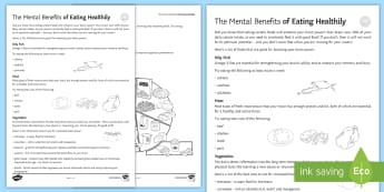 The Mental Benefits of Eating Healthily Pupil Guide - Secondary - 15 Minute Revision Activities, eating, food, tips, benefits, revision, mental