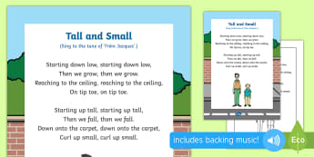 Tall and Small Song - singing, song time, height, big, measurement, shape, space and measure