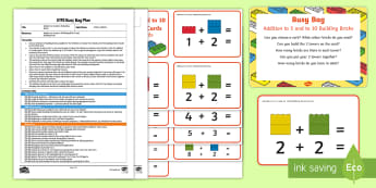 EYFS Addition to 5 and to 10 Building Bricks Busy Bag Plan and Resource Pack - Number, Maths, Mathematics, Adding, number bonds, Lego, Duplo, Mega Blocks, Megablocs, Mega Blocs,