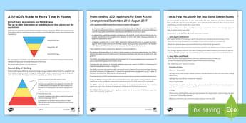 Access arrangements Resource Pack - sen, dyslexia, extra time, help, precautions