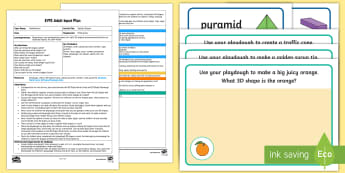 EYFS Squishy Shapes Adult Input Plan and Resource Pack - Beginning to use mathematical names for 'solid' 3D shapes , and mathematical terms to describe s