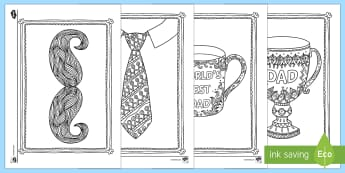 Father's Day Mindfulness Coloring Sheets - Mindfulness Coloring, father's day, family, dad