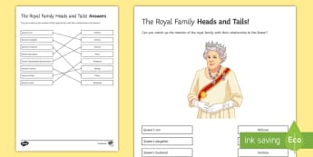 The Royal Family: Heads and Tails Activity Sheet - queen, birthday, royal, family, relatives, tree, worksheet, match, draw