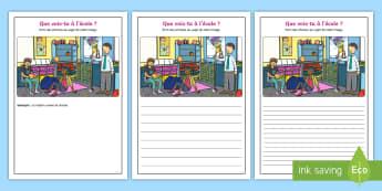 Supports imagés pour la production d'écrits : À l'école-French - Écriture, Écrire, Français, Cycle 2, Cycle 3, Writing, école