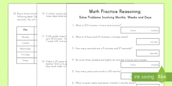 Solve Problems Involving Months, Weeks, and Days Activity Sheets - math, time, problem solving, months, days, weeks, activity, worksheets, measurement, average