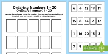 Ordering Numbers Game 0 20 English/Italian - Ordering Numbers Game 1 to 20 - order, number, maths, activity, numbes, nubers, matsh, seriation - Ordering Numbers Game 1 to 20 - order, number, maths, activity, numbes, nubers, matsh, seriation
