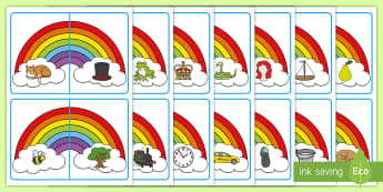 Rhyming Words Matching Puzzle - Phonological Awareness, Word Families, Center Activity, Hands-on learning