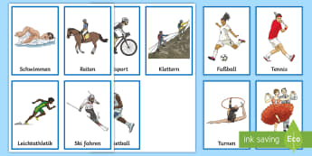 Sports Flashcards - German - Sports,German, Deutsch, Bar Chart, Data collection, MFL, Languages, PE