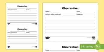 EYFS Infants Observation Template - Back to School, Junior Infants, observe, assess, monitor, watch, sheet, proforma, record, tracker,Ir