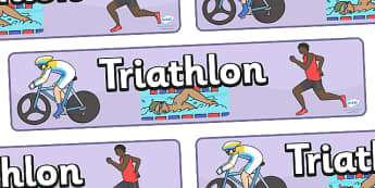 The Olympics Triathlon Display Banner - Triathlon, Olympics, Olympic Games, sports, Olympic, London, 2012, display, banner, poster, sign, activity, Olympic torch, events, flag, countries, medal, Olympic Rings, mascots, flame, compete