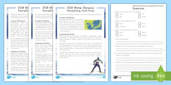 2018 Winter Olympics: PyeongChang, South Korea  Differentiated Reading Comprehension Activity - Non-fiction, Winter Sports, Reading Passages, Nonfiction passages, Reading Questions, Varied Reading