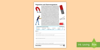 Magnetism and Electromagnetism Word Search - solenoid, electromagnets, Fleming, repulsion, magnetic field